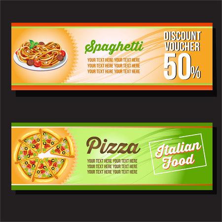 spaghetti and pizza horizontal banner