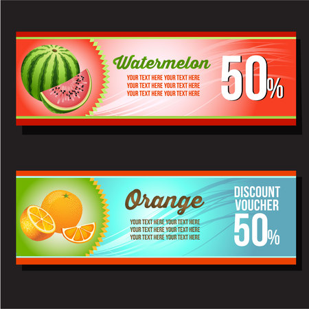 Watermelon and orange horizontal banner Illustration