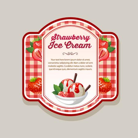 strawberry ice cream label