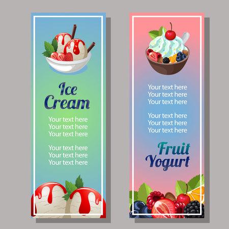 ice cream and fruit yogurt vertical banner