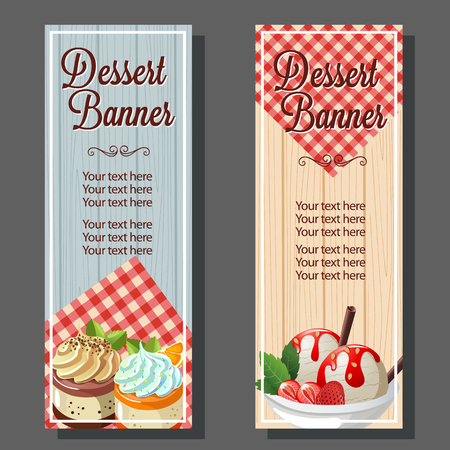 Artistic design of a two dessert vertical banner.