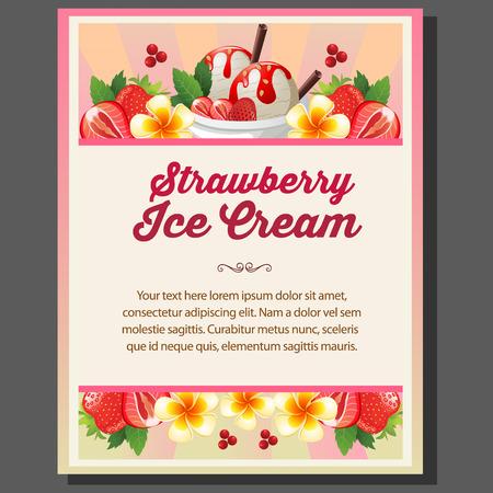 Artistic design of a strawberry ice cream poster.