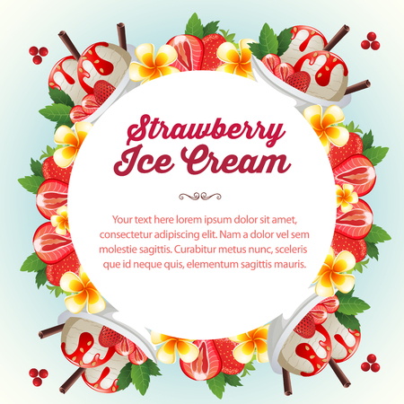 strawberry ice cream with roud shape for text