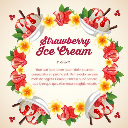 strawberry ice cream wreath Illustration