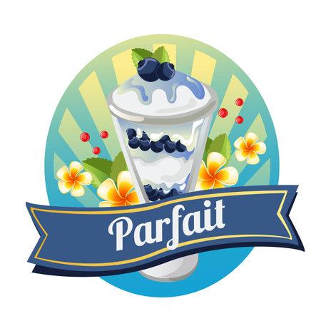 blueberry parfait with tropical theme Illustration