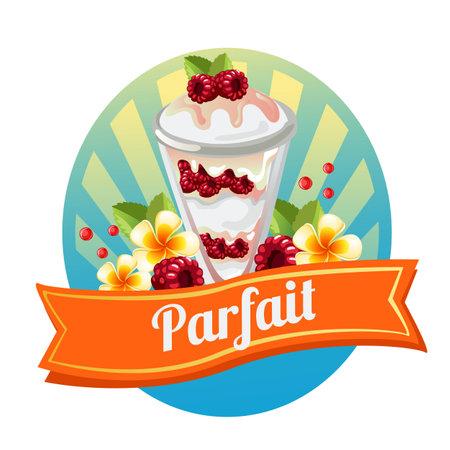 raspberry parfait with tropical theme