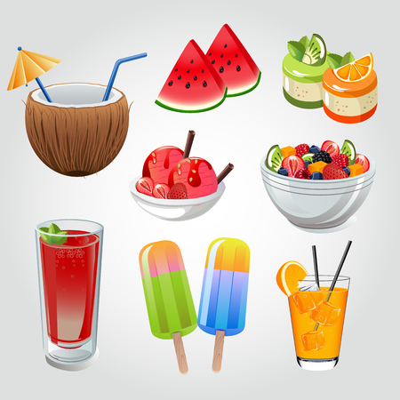 summer drinks and snacks Illustration