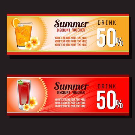 two summer drink discount voucher Illustration