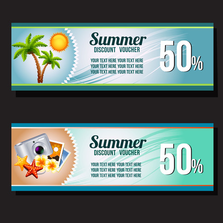 two summer voucher discount Illustration