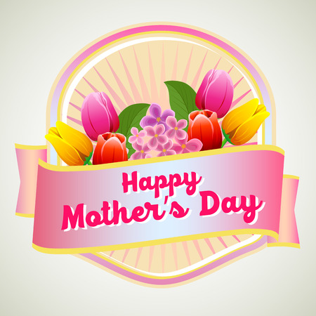 Happy mothers day badge Illustration