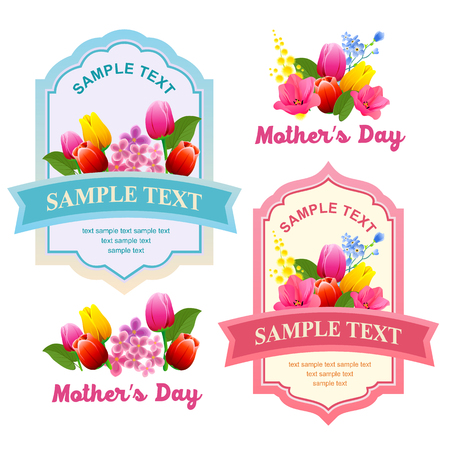 happy mother day label