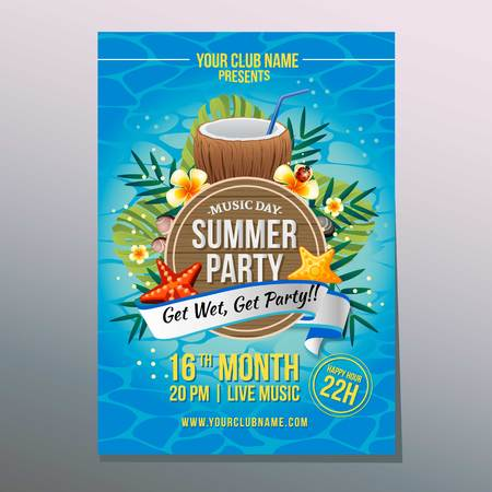 summer party poster with coconut drink Illustration