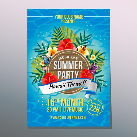 summer party poster with hibiscus