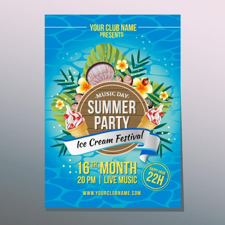 summer party poster with ice cream