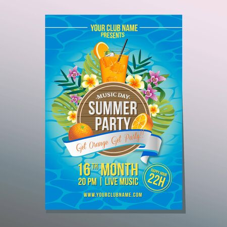 summer party poster with orange juice Illustration