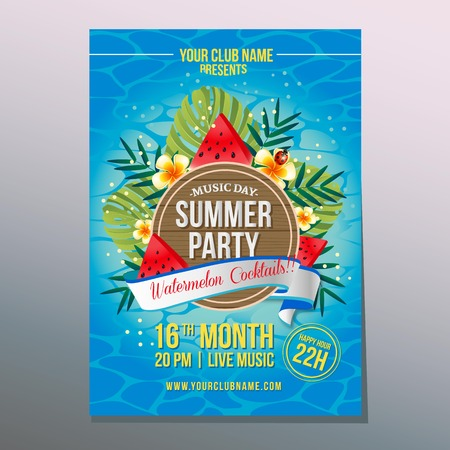 summer party poster with watermelon