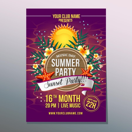 summer party poster with sunset theme