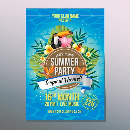 summer party poster with tropical theme