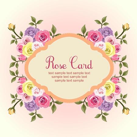 flat rose card
