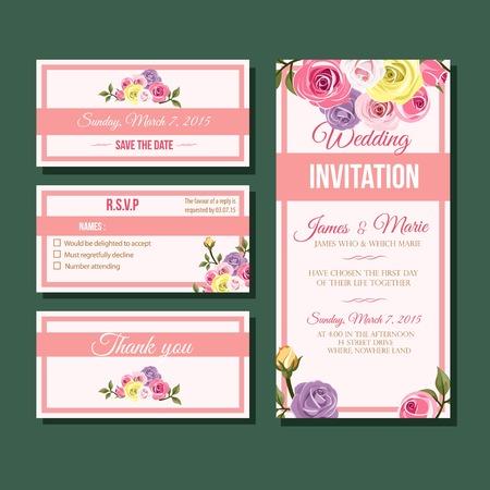 Modern flat rose wedding invitation template Illustration