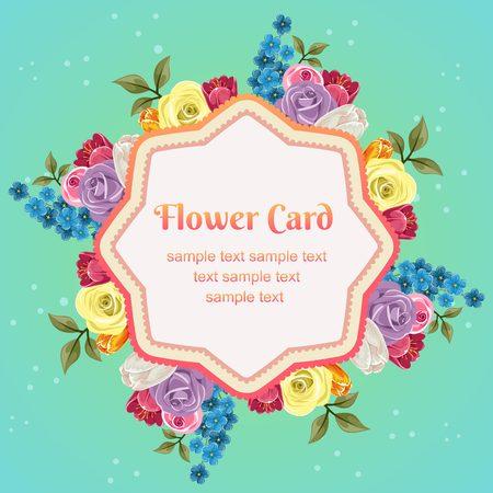 flower octagon card Illustration