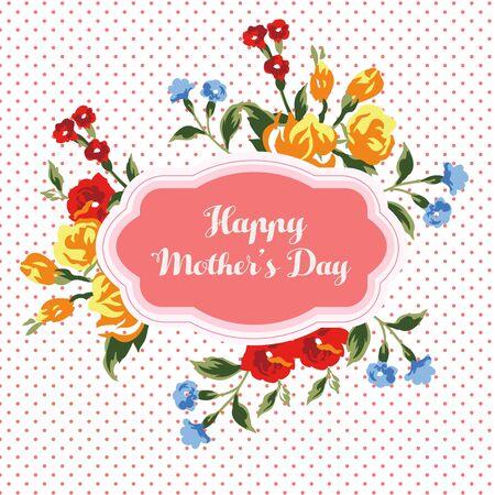 Mothers day card polkadot Illustration