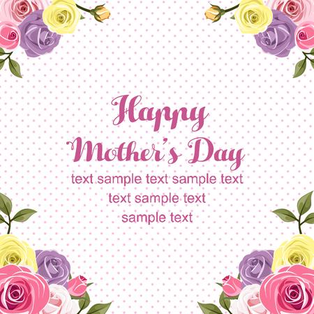 mothers day flat rose card Illustration