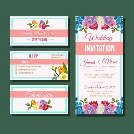 Modern rose tulip wedding invitation template Illustration