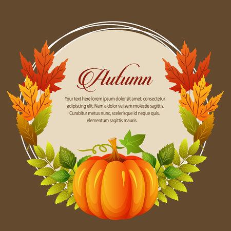 autumn card leaves pumpkin