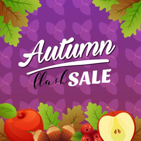 autumn flash sale vivid color with apple 向量圖像