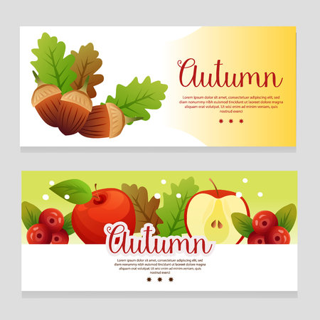 cute autumn theme banner with apple