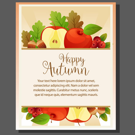 happy autumn theme poster with cute apple