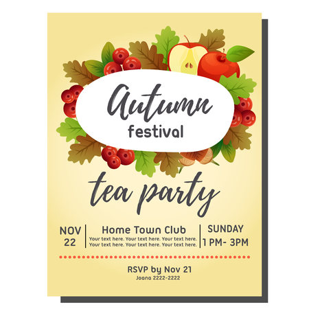 tea party autumn invitation card with apple