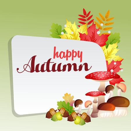 happy autumn with set of mushrooms