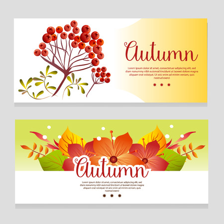 cute autumn theme banner with fall plant