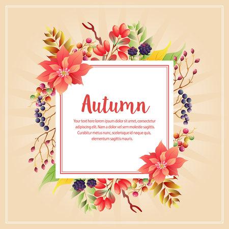 autumn fall plant with poinsettia
