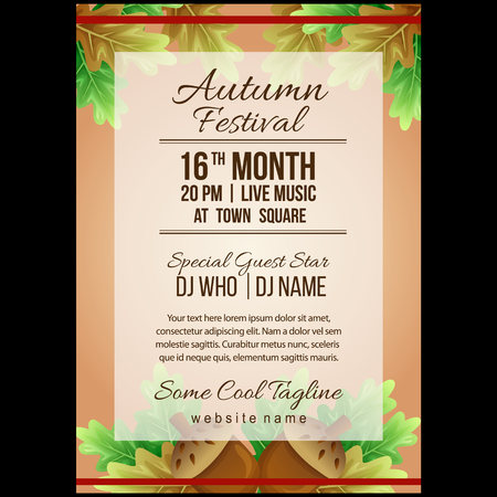 autumn festival poster template with canary nuts