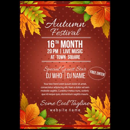 autumn festival poster template with foliage leaves elements Vectores
