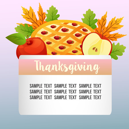 autumn nature theme with thanksgiving apple pie Иллюстрация