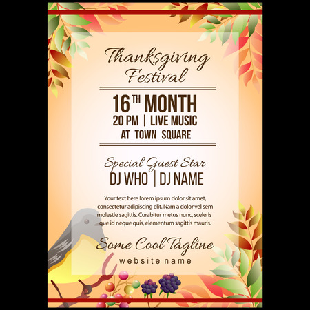 autumn thanksgiving festival poster template with songbird