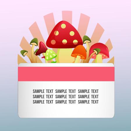 autumn theme with colored mushroom set