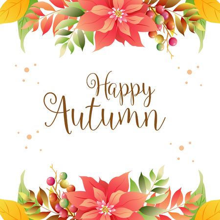 happy autumn border with poinsettia Illustration