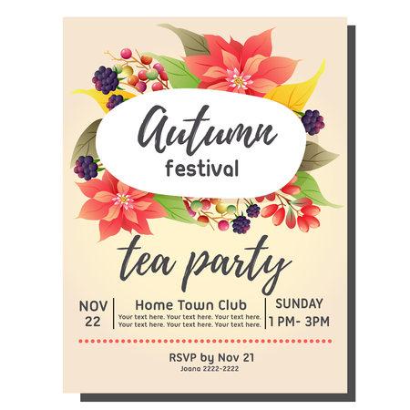 theekransje herfst uitnodigingskaart met poinsettia