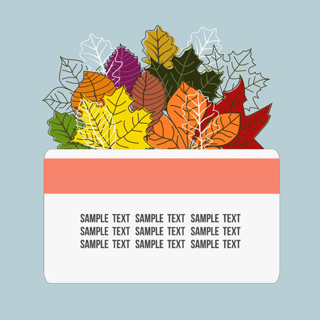 Autumn theme with bush leaves foliage Иллюстрация