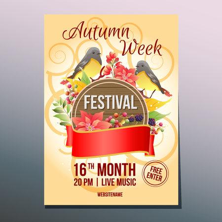 autumn week festival day birdsong poster template