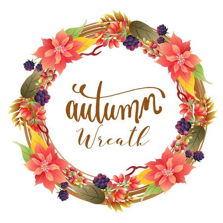 autumn wreath foliage with poinsettia mulberry