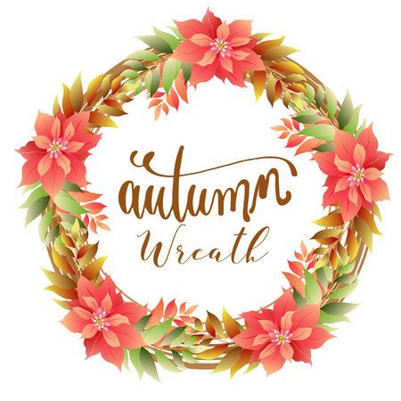 autumn wreath foliage with poinsettia