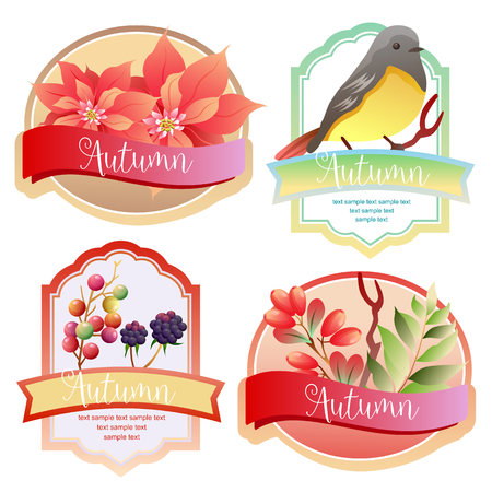 cute autumn label with birdsong and poinsettia
