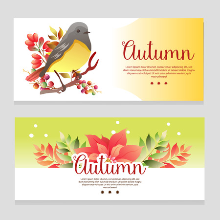 cute autumn theme banner with birdsong
