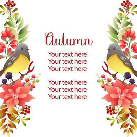 garden vertical border template autumn birdsong Иллюстрация